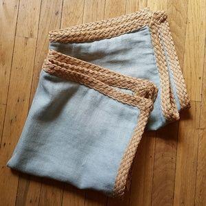 Pottery Barn Linen pillow cover shams jute braid
